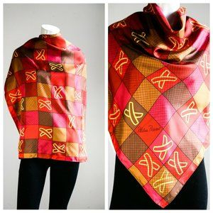 Paloma Picasso X Print Red Pink Hand Rolled Scarf
